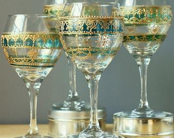 Moroccan Decor Bohemian Handpainted Exotic Tableware Moroccan Tea Glasses Moorish Wine Glasses Green Glass Moroccan Glassware Eclectic Decor