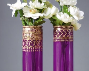 Tall Cylinder Bud Vases, Amethyst Glass with Golden Bohemian Designs