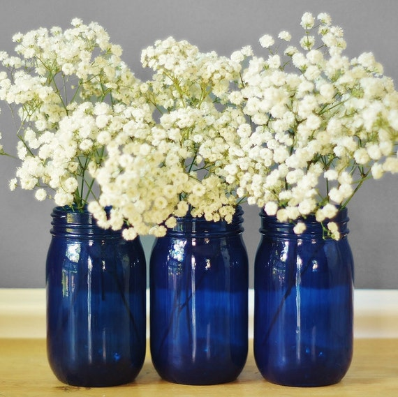 Best Selling Items Cobalt Blue Glass Vase Mason Jar Decor Etsy