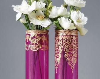 Bohemian Decor College Student Gift, Bohemian Bedroom Henna Bud Vase Set