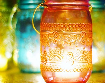 Boho Gift for Her Outdoor Lighting Mason Jar Lantern Moroccan Lantern Tea Light Holder Mason Jar Lamp Hanging Lantern Boho Decor Centerpeice
