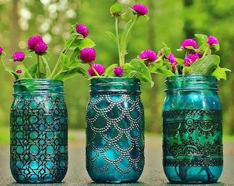 Boho Decor Housewarming Gift For Her Personalized Gift Painted Mason Jars Moroccan Decor Entryway Decor Boho Table Decor Bathroom Storage