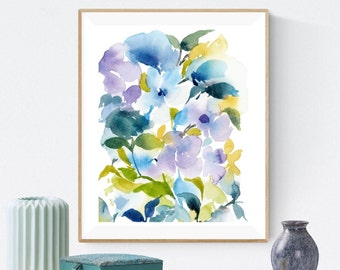 Eclectic Wall Art, Abstract Floral Painting, Pansies Watercolor Painting