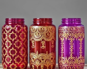 Wedding Gift Henna Vase Wedding Decor Mason Jar Centerpieces Bridesmaid Gift for Her Moroccan Decor Table Lamp Wedding Centerpiece