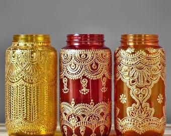 Wedding Gift Vase Wedding Decor Housewarming Gift for Her Boho Decor Mason Jar Candle Holder Moroccan Lamp Lantern Centerpiece Votive