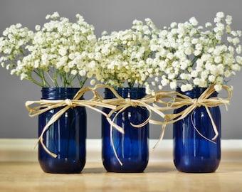 Mason Jar Centerpieces Apothecary Jars Boho Wedding Centerpiece Cobalt Blue Glass Vase Mason Jar Decor Bud Vase Best Selling Items Stash Jar