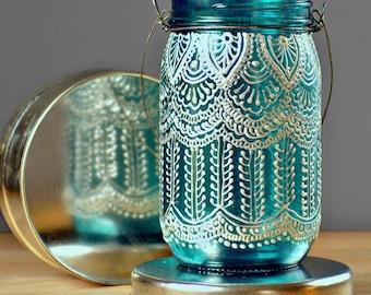 Boho Henna Outdoor Lighting, Hand Painted Mason Jar Lantern, Hanging Lantern with Peacock Blue Glass and Pearl White Design, Gypsy Decor