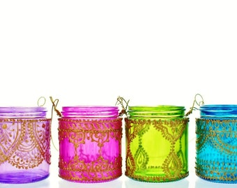 Best Friend Gift for Her Moroccan Lantern Tea Light Holders Bohemian Bedroom Decor Moroccan Decor Votive Candles Painted Jar Candle Lanterns