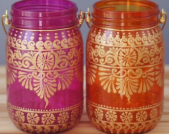 Best Friend Gift Ideas, Hanging Lanterns Painted Mason Jars, Bohemian Patio Outdoor Jar Lanterns, Mason Jar Lanterns, Mason Jar Gift Set
