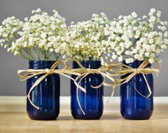 Mason Jar Gift Set, Cobalt Painted Mason Jars, Painted Jar Gift Set, Rustic Mason Jar Decor, Woodland Wedding, Boho Housewarming Gift