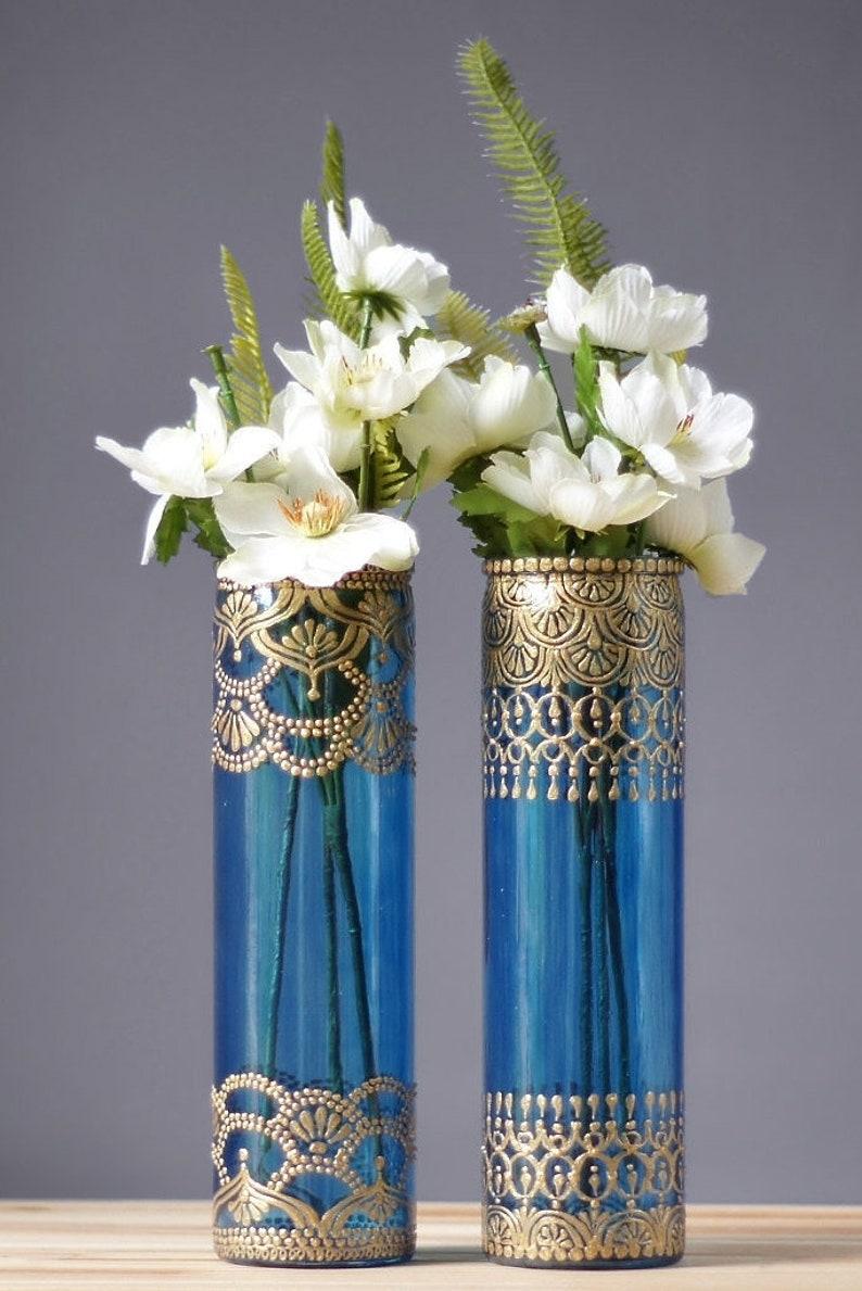 Henna Bud Vase Set Moroccan Decor Bohemian Glass Vase Best image 0