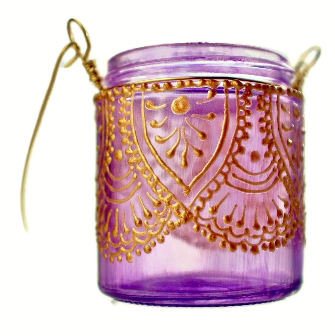 Hanging Candle Holder Inspired by Moroccan Lanterns Lavender