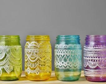 Festive Spring Mason Jars- Easter Egg Mason Jar Vases, Painted Mason Jar Decor, Boho Jar Lanterns, Henna Design Vases, Spring Home Decor