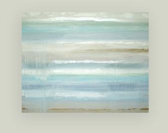 "Huge, Acrylic Art, Large Painting, Original Abstract, Acrylic Paintings on Canvas by Ora Birenbaum Titled: Seaside Retreat 3 48x60x1.5"""