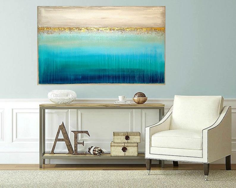 Art Acrylic Painting Original Abstract Beachy Shabby Chic image 0