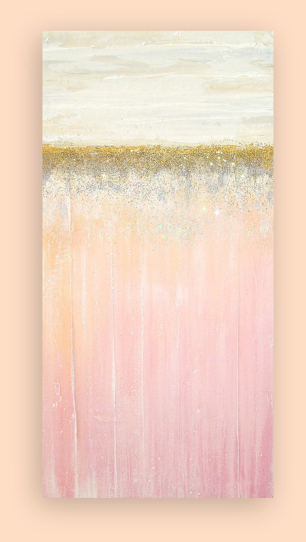 Art Acrylic Painting Original Abstract Blush Shabby Chic image 0
