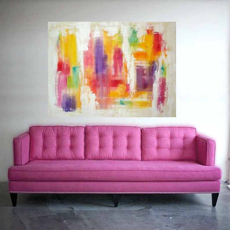 Art Paintings - Acrylic, Original Abstract on Canvas in Rainbow Colors by  Ora Birenbaum Titled: Show Stopper 2 36x48x1 5