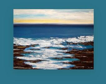 "Art,Painting,Abstract,Canvas Art,Seascape,Ocean Art,Acrylic Abstract Art on Canvas Titled: Up The Coast 36x48x1.5"" by Ora Birenbaum"