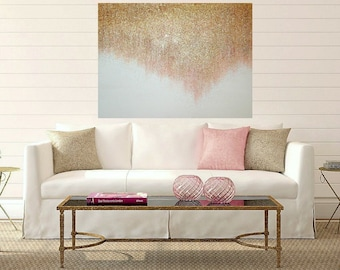 """Acrylic Art,Painting,Abstract, Rose Gold Glitter, Abstract, Acrylic Painting Canvas Ora Birenbaum Titled: Rose Gold Shimmer 30x40x1.5"""""""