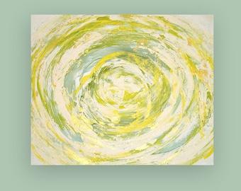 "Yellow, Seafoam, Green Painting, Original Acrylic Abstract Painting Fine Art by Ora Birenbaum Original Art Titled: Lemon Swirl 20x24x1.5"""