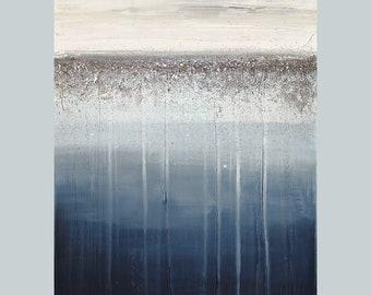 "Art, Painting, Navy, Metallic Silver, Glitter Art Painting Acrylic Original Art on Canvas by Ora Birenbaum Titled: Silver Rain 24x30x1.5"""