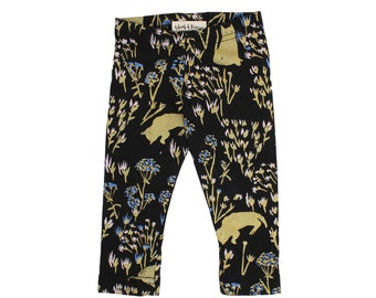 Cats in Grass Leggings in Royal Blue, Pale Pink and Gold on Black