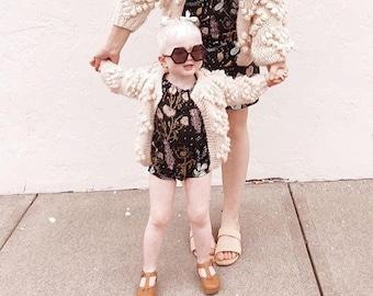 Black 'Desert Floral' Flutter Top Romper - Kid's Romper - Kid's Onesie - Flutter Top - Cactus - Floral Romper - Girls Romper-thiefandbandit®
