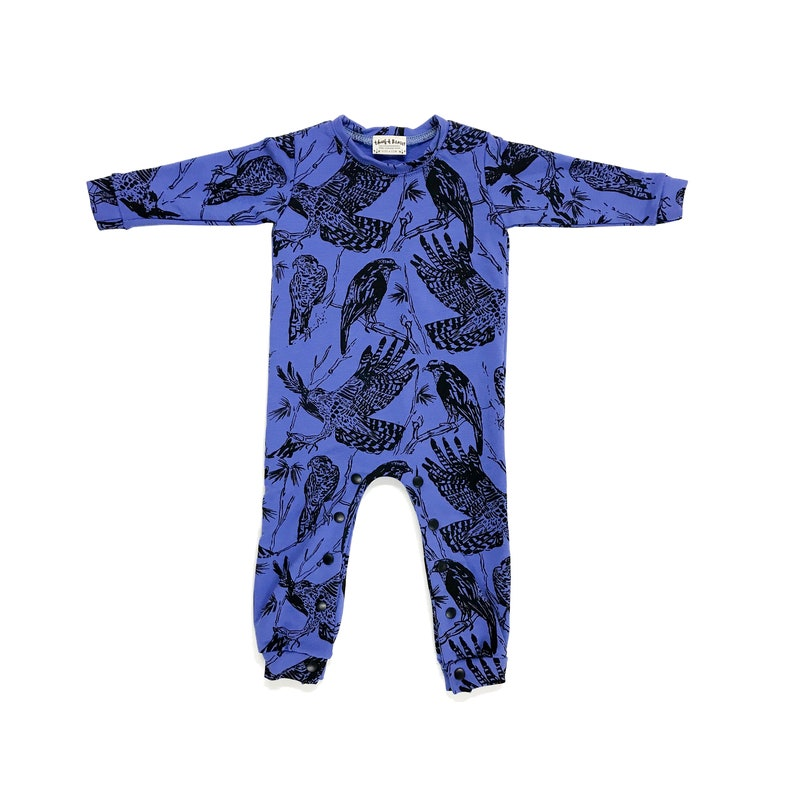 8a1d32d07 Periwinkle  Birds of Prey  French Terry Romper by