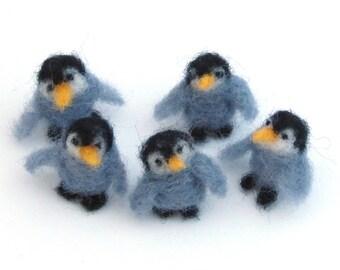 Miniature Felt Penguins - set of 5 Needle Felted Animals - grey penguin
