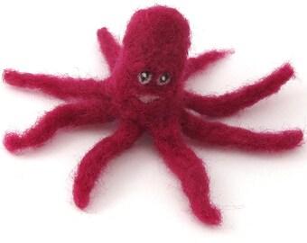 Felted octopus - needle felted purple/red octopus - cute felt animal
