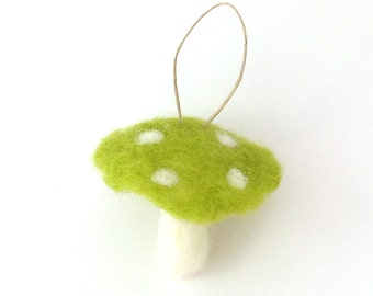 Light green toadstool ornament - Wool felt fairy mushroom - Needle felted christmas ornament