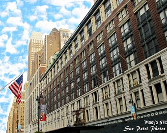 NYC Photography, New York City Prints, New York Art, Macys Department Store, Macys Building, Travel Photography, American Flag Photos