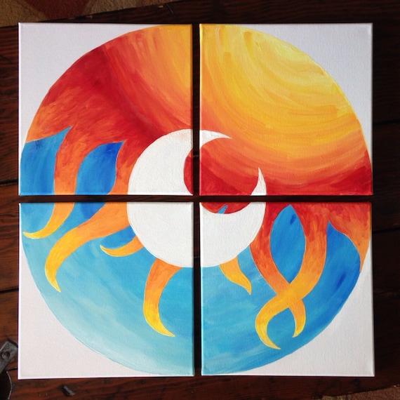 Sun Moon Multiple Canvas Original Acrylic Abstract Painting Etsy