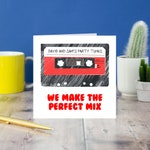 Retro cassette love valentines card, retro tape anniversary card, card for couple, wedding card