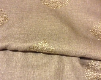 100% designer Linen embroidered fabric by the yard