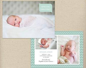 5x7 Birth Announcement Template, Photo Birth Announcement, Baby Boy, Baby Girl, Gender Neutral, Chevrons, Multiple Photos, Photo Card - B41