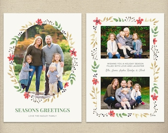 5x7 Christmas Card Template, Holiday Card, Seasons Greetings, Photo Card, Card with Pictures, Watercolor, Floral, Wreath - H70