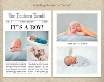 5x7 Newspaper Birth Announcement Template, Newspaper Style, Birth Story, Photo Card, Baby Boy, Baby Girl, Gender Neutral, Twins - B51