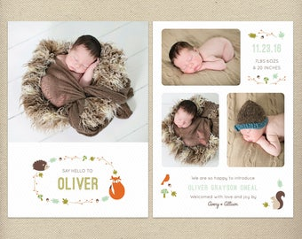5x7 Birth Announcement Template, Birth Announcement Card, New Baby, Photo Card, Card with Pictures, Woodland, Animals - B22