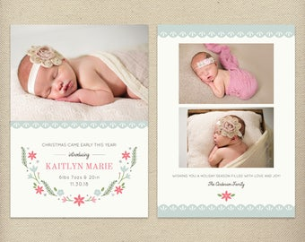 5x7 Christmas Birth Announcement Template, Holiday Birth Announcement, Christmas Baby, Holiday Baby, New Baby, Christmas Photo Card - H57