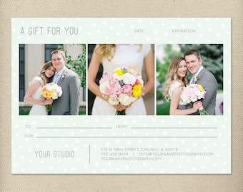 5x7 Digital or Print Gift Certificate Template, Gift Card, Photography Gift Certificate, One-Side Gift Certificate, Single-Side - GC3