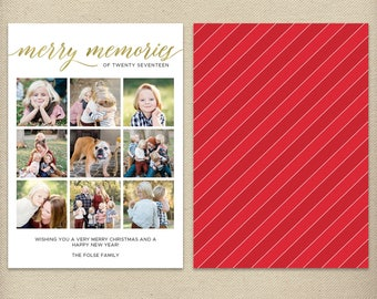 5x7 Holiday Card Template, Christmas Card Template, Photo Collage, Merry Memories, Traditional Card, Simple, Faux Gold Foil - H68