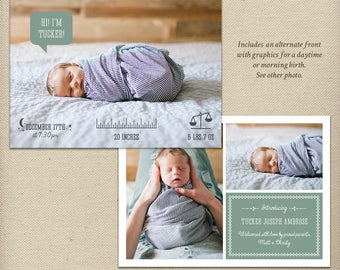 5x7 Birth Announcement Template, Photo Birth Announcement, Baby Boy, Baby Girl, Gender Neutral, Icons, Multiple Photos, Photo Card  - B49