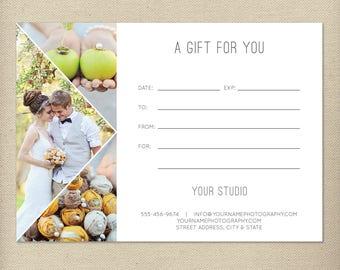 Digital or Print Gift Certificate Template, Photography Gift Card, Photography Gift, One-Sided Gift Certificate, Single-Sided Gift Card- GC5