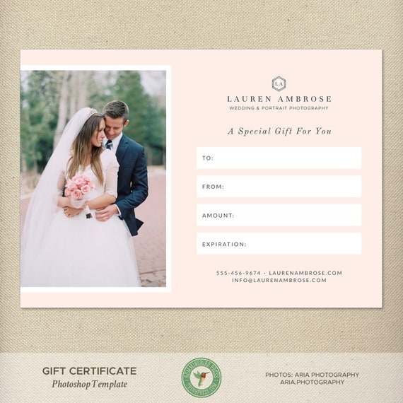 5x7 digital or print gift certificate photoshop template gift etsy