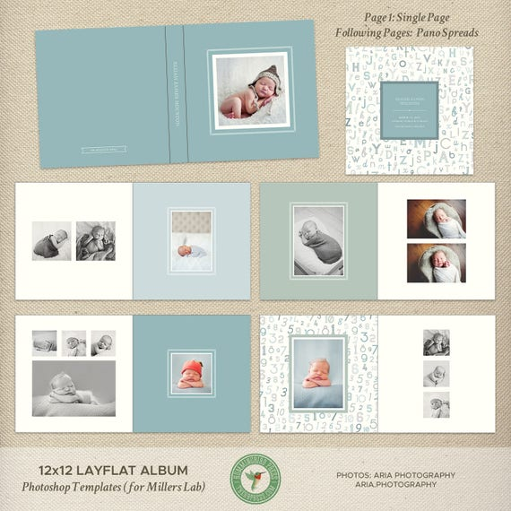 12x12 Millers Lab Layflat Album Template Newborn Photo Album | Etsy