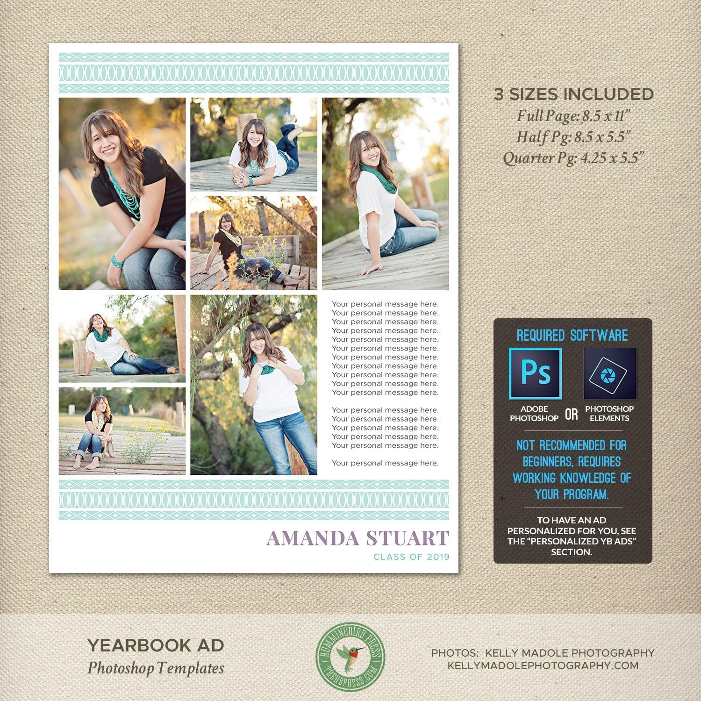Senior Jahrbuch Ad Photoshop-Vorlagen Graduierung Ad High