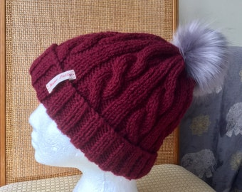 Hat Chunky Wool Cable Knit Baggy Slouch Pom Bobble Beanie Mottled Fleece Lined