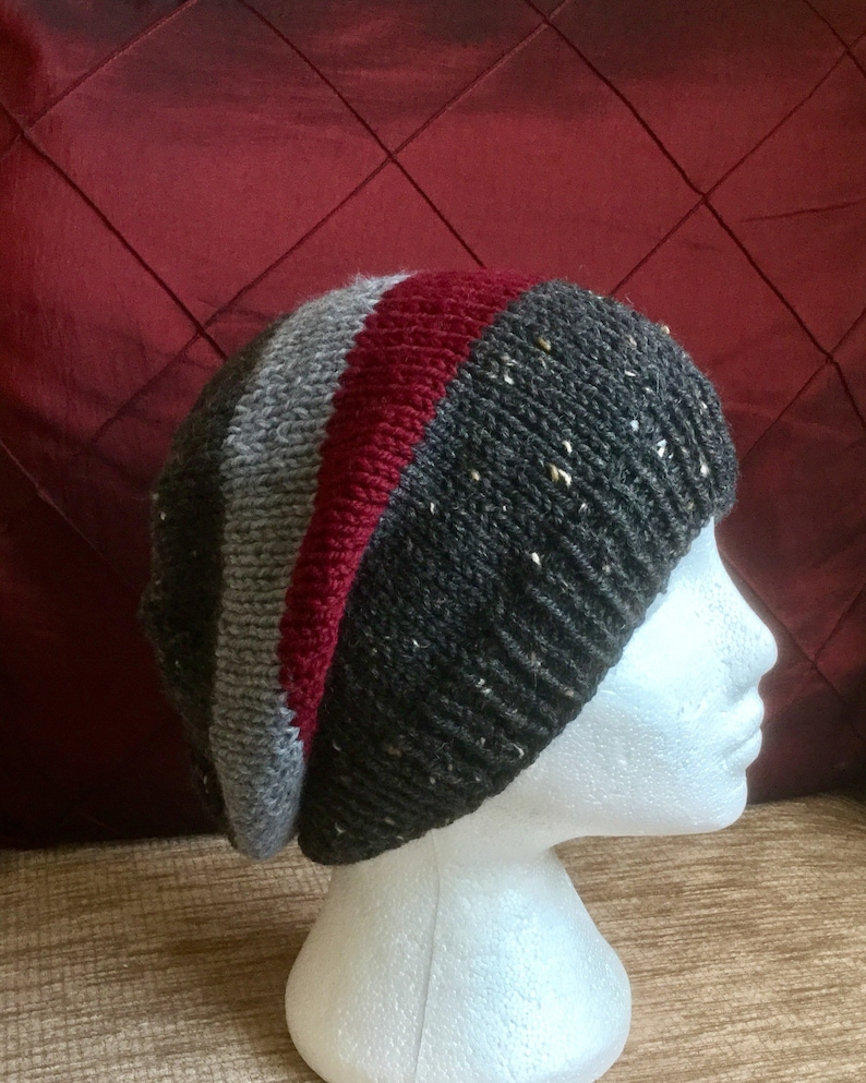 7deb935e03d Cosy Winter Hat. Black Deep Red Grey Slouchy Hat. Chunky