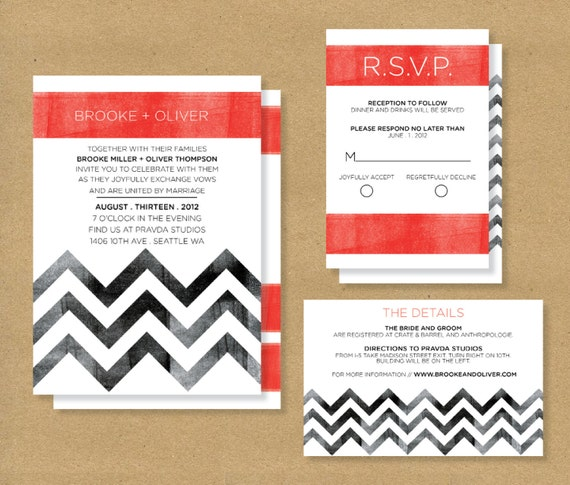 Wedding Website Password Ideas: Items Similar To CHEVRON WEDDING INVITATIONS-- Invite